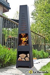 Free Cover La Hacienda Skyline Black Steel Garden Chiminea With Laser Cut Design 150cm High