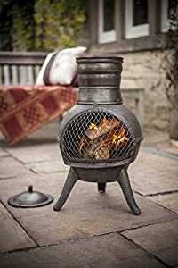 Free Cover La Hacienda Squat Bronze Effect Cast Ironsteel Mix Chiminea Patio Heater from La Hacienda