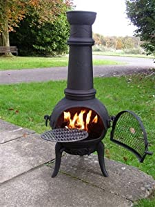 Free Cover Large 120cm Oxford Black Cast Ironsteel Chiminea Bbq With Swing Out Grill
