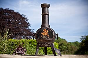 Free Cover Large Bronze Cast Ironsteel Mix Chiminea Chimenea With Swing Out Grill Bbq by La Hacienda