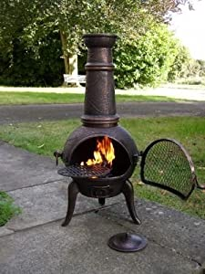 Free Cover Large Oxford 120cm Bronze Cast Ironsteel Mix Chiminea Chimenea With Swing Out Grill Bbq