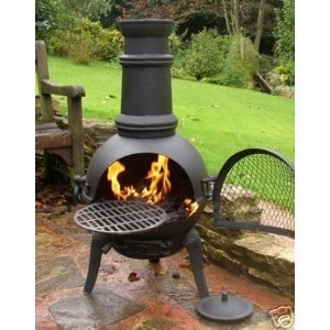 Free Cover Oxford Leisure Black Cast Ironsteel Mix Chiminea Chimenea 85cm High With Swing Out Grill