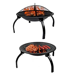 Funime Charcoal Barbecue Grilling With 4 Foldable Legs Fire Screen Lift Tool For Camping Fire Pit Outdoor Cooking by Funime