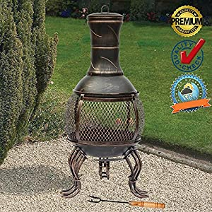Funkybuys Deluxe Large 89cm 3ft Height Bronze Deluxe Cast Iron Heater Bbq Mesh Design Steel Chimenea Si-bbq4 Antique Style Rustic from FunkyBuys