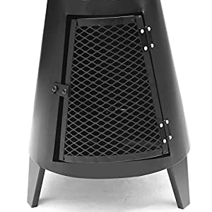 Funkybuys Large Blackchrome 120cm Outdoor Garden Chimenea Patio Heater Chimnea Bbq Chimney Chiminea Fire Pit Garden Outdoor Camping Charcoal from FunkyBuys