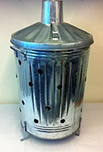 Galvanised Brazier Incinerator Comes With Feet And Lid Bin Burner Outdoor by Jiyo