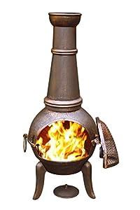 Gardeco 124cm Granada Cast Iron Chimenea Tall Bronze Effect Finish Steel Funnel by Gardeco