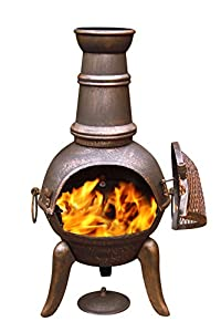 Gardeco 90cm Granada Cast Iron Chimenea Tall Bronze Effect Finish Steel Funnel from Gardeco
