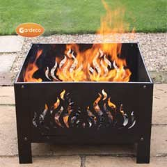Gardeco Oban-61-fire Large Square Oban Fire Pit With Flames Cut Out Includes Mesh Guard - Black from Gardeco