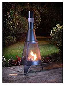 Garden Deluxe Log Burner Firepit Chimenea Outdoor Heating Black 120cm