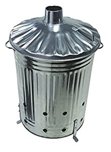 Garden Fire Bin Incinerator Galvanised 90 Lt Burning Wood Leaves Paper Etc by ASAB