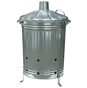 Garden Fire Bin Incinerator Galvanised 90 Lt Leaf Grabber Burning Wood Leaves Paper Etc by Anything 4 Home