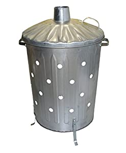 Garden Fire Bin Incinerator Galvanised Ideal For Burning Wood Leaves Paper 90 Litre Fast Burner Free Ash Shovel Poker by S&MC Gardenware