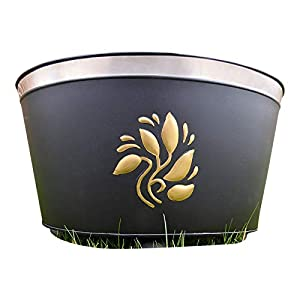 Garden Fire Pit Fire Bowl Brazier Incinerator Black With Gold Leaves 41x30x26cm by UK-Gardens