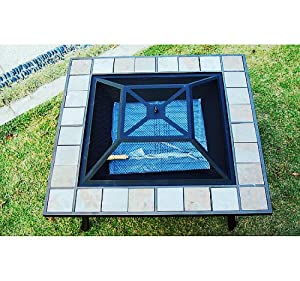 Garden Fire Pits For Outdoor Square Shape In Black by Homcom