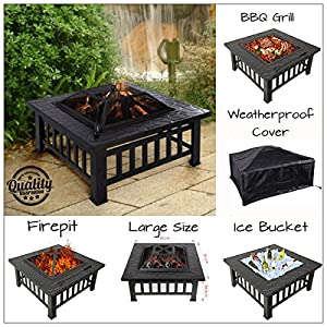 Garden Mile 3 In 1 Multi Function Fire Pit Outdoor Patio Heater Garden Metal Brazier Square Table Heater Stove With Waterproof Cover Black by Garden Mile®