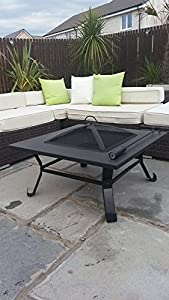 Garden Mile Black Metal Large Outdoor Garden Fire Pit Patio Heater Firepit Square Brazier from Garden Mile