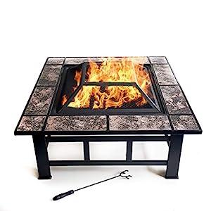 Garden Mile Black Metal Large Outdoor Garden Fire Pit Patio Heater Firepit Square Brazier from Garden Mile