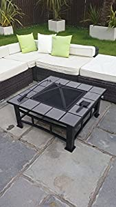 Garden Mile Garden Firepit Patio Heater Stove Fire Pit Square Brazier Table Tile Large Black from Garden Mile