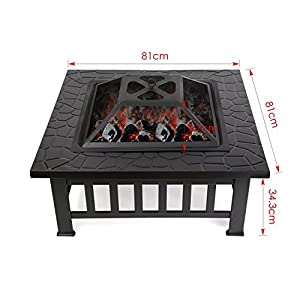 Garden Mile Large Black Square Metal Outdoor Garden Fire Pit Brazier Log Burner Patio Heater Firepit Square Basket Garden Fire Pit Incinerator With Ash Tray by Garden Mile®