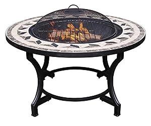 Garden Mile Outdoor Mosaic Garden Firepit Fire Pit Brazier Round Patio Heater Steel Bbq  from Garden Mile