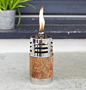 Garden Oil Torch - Beautiful Natural Wood And Stainless Steel - Outdoor Table Or Patio Oil Lamp - Garden Path Lighting - Small - 9 X 9 X 165cm by Za Za Homes