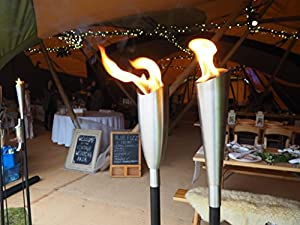 Garden Oil Torch - High Quality Stainless Steel - Outdoor Oil Lamp Wedding - 7 X 7 X 145cm from Za Za Homes