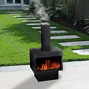 Garden Outdoor Ambient Chiminea Black Metal Fireplace Patio Wood Log Stove Fire by Guaranteed4Less