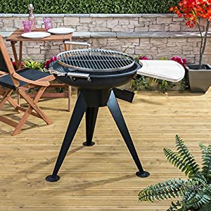 Garden Patio Fire Mountain Antigua Charcoal Fire Pit Bbq With Side Shelf