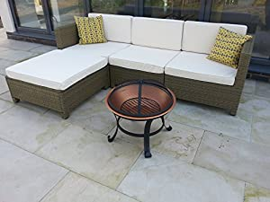 Garden Patio Fire Pit By Gladiator Large Round Copper Coloured Bowl Decking Heater Metal Firepit Brazier Barbecue Table by Gladiator firepits