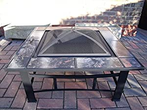 Garden Patio Fire Pit Heater Metal Decking Firepit Brazier Barbecue Table B