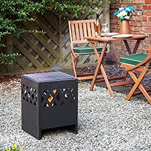 Garden Patio Jamaica Fire Basket Incinerator Braizer Bbq With Cover