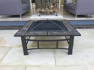 Garden Patio Tiled Fire Pit Decking Heater Metal Firepit Brazier Barbecue Table by Gladiator firepits