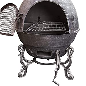 Gardenkraft 19630 Cast Iron Chiminea Garden Patio Heater Fire Pit Bbq Grill For Wood Charcoal 180cmh X 50cm Black by Benross Group