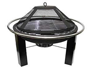 Genova 75cm Steel Firepit Bowl With Barbecue Grill And Safety Cover by La Hacienda