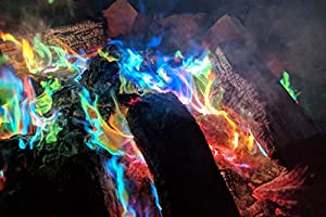 Glow Pack Of 12 Mystical Rainbow Fire Sachets Magic Long Lasting Colour Changing Colourful Magical Flame Display Dust Powder On Fires - Perfect For Bonfires Fireplace Fire Pits Chiminea Wood Burner by GLOW Wholesale