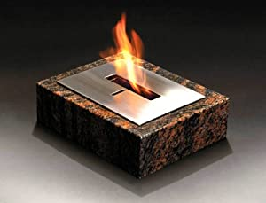 Granito - Table Top Outdoor Decorative Bio-ethanol Fire Brown Granite Biofuel Fire from Garden Style Direct