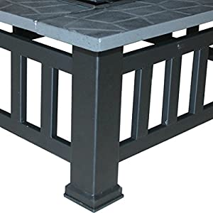 Greenbay Outdoor Garden Fire Pit Patio Heater Stove Firepit Metal Square Brazier Bbq