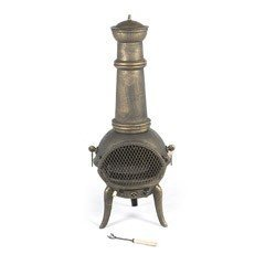 Greenfingers Rostock Cast Iron Chiminea With Grill - Xlarge With Bronze Effect from Greenfingers