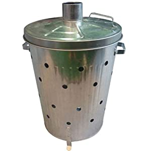 Harewood Galvanised Incinerator - 75l Garden Fire Bin Leaves And Waste Burner by Harewood By Home Discount Ltd