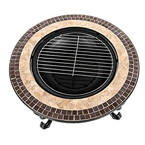 Harima Alaz - 76cm 30 Inch Round Outdoor Garden Mosaic Coffee Table And Fire Pit Brazier With Chrome Bbq Grill Grid With Spark Guard Mesh Lid And Rain Cover Incinerator Log Wood Burner Patio Heater by Harima
