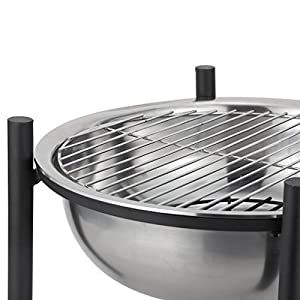 Harima Cacus - 63cm 25 Inch Camping Stainless Steel Metal Fire Pit Brazier Bowl With Chrome Bbq Grill Mesh Lid And Rain Cover Incinerator Log Wood Burner Garden Patio Heater Outdoor from Harima