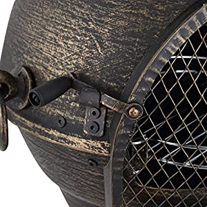 Harima Logi - Medium 93cm 36 12 Inch Bronze Cast Iron Outdoor Garden Chimenea Fire Pit Brazier Patio Heater Chimnea Fireplace With Bbq Grill And Rain Cover Chiminea Incinerator Log Wood Burner Chimney from Harima