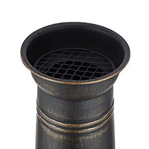 Harima Logi - Medium 93cm 36 12 Inch Bronze Cast Iron Outdoor Garden Chimenea Fire Pit Brazier Patio Heater Chimnea Fireplace With Bbq Grill And Rain Cover Chiminea Incinerator Log Wood Burner Chimney from Harima