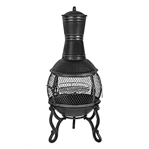 Harima Nusku - 89cm 35 Inch Black Cast Iron Outdoor Garden Chimenea Fire Pit Brazier Patio Heater Chimnea Fireplace With Bbq Grill And Rain Cover Chiminea Incinerator Log Wood Burner Chimney from Harima