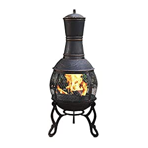 Harima Nusku - 89cm 35 Inch Bronze Cast Iron Outdoor Garden Chimenea Fire Pit Brazier Patio Heater Chimnea Fireplace With Bbq Grill And Rain Cover Chiminea Incinerator Log Wood Burner Chimney by Harima