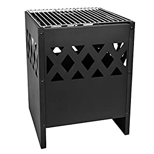 Harima Perun Modern Black Steel Square Fire Basket Pit