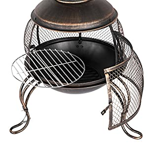 Harima Tohil - Xl Large Bronze 169cm 665 Inch Steel Outdoor Garden Chimenea Fire Pit Brazier Patio Heater Chimnea Fireplace With Bbq Grill Chiminea Incinerator Log Wood Burner Chimney With Screen Stove by Harima