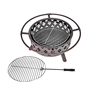 Harima Vulcan - 76cm 30 Inch Garden Steel Metal Fire Pit Brazier Bowl With Chrome Bbq Grill Mesh Lid And Rain Cover Incinerator Log Wood Burner Patio Heater Outdoor by Harima