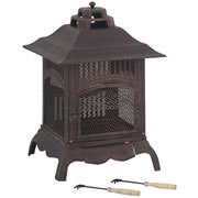 Harlin - Fire Pit Grill - Outdoor Garden Heater - Square Pressed Steel Copper from Worldstores